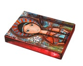 Saint Kateri-  Giclee print mounted on Wood (6 x 8 inches) Folk Art  by FLOR LARIOS