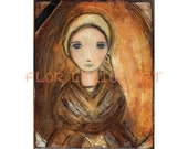 Saint Bernadette - Print from Original Mixed Media Folk Art Painting by FLOR LARIOS ( 6 x 8 inches)