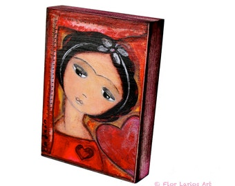 Always in Love - Giclee print mounted on Wood (5 x 7 inches) Folk Art  by FLOR LARIOS