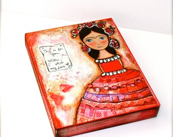 Frida - This is for you -  Giclee print mounted on Wood (4 x 5 inches) Folk Art  by FLOR LARIOS
