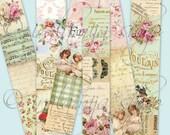 VINTAGE STRIPS collage Digital Images  -printable download file- Digital Collage Sheet Vintage Paper Scrapbook