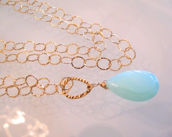 Long Gold Chain with Blue Opal Pendant