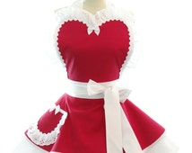 Retro Apron - Wedding Day Womans Aprons - Vintage Apron Style - Bridal Party Pin up Bridesmaid Red Rockabilly Cosplay Lolita