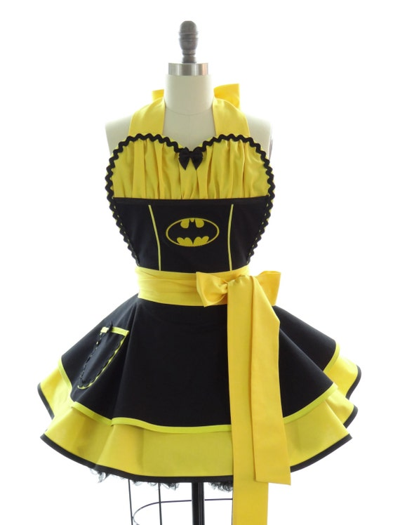 Retro Apron - Batman Sexy Womans Aprons - Vintage Apron Style - Comics Pin up Gotham City Rockabilly Cosplay Lolita