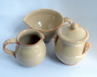 Creamer, sugar jar and little mixing bowl Made to order