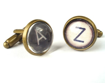 Typewriter Cufflinks - Vintage Style Typewriter Key cufflinks Black or White typewriter key cufflinks, fathers day gift