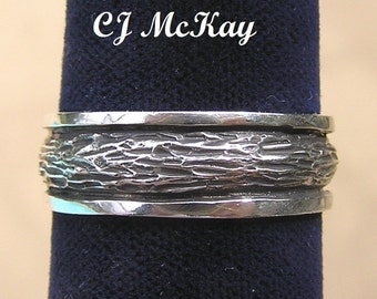 Men's Silver Tree Bark Wedding Band 7mm Oxidized