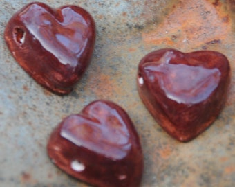 Rust Red Pottery Heart Bead