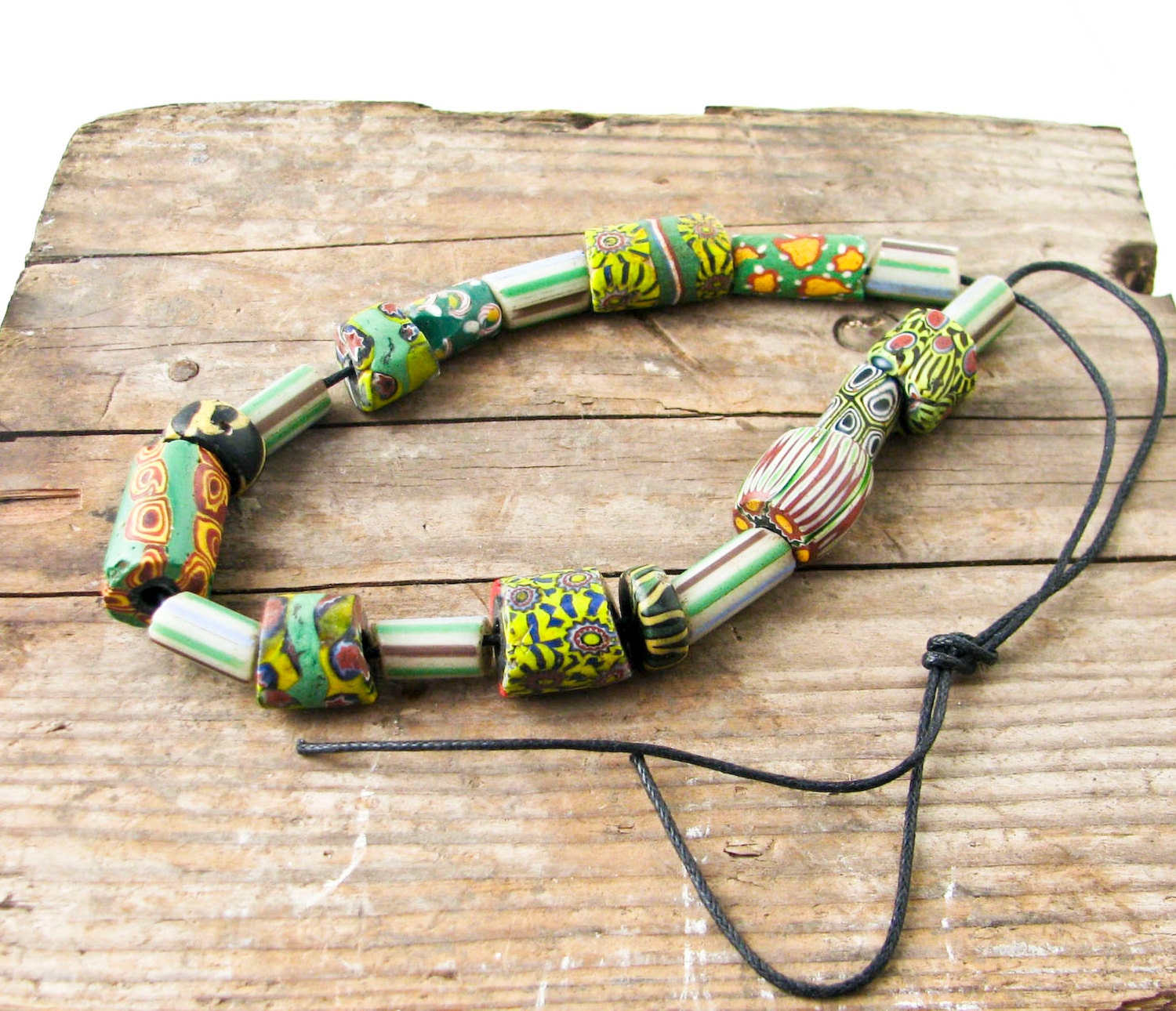 Bead Glass African Beads: African Trade Beads Green. 19 Glass Beads Vintage Jewelry