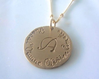 Pretty Mommy Necklace in Gold Filled with French Script