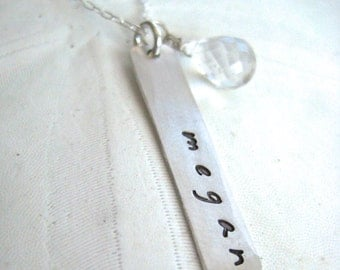 Silver Long Bar Name Necklace - Hand Stamped