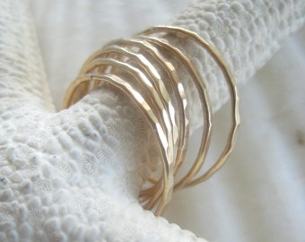 Thin Gold Bands -  Six Hammered Stacking Rings