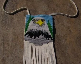 Eagle Leather Amulet Bag Hand Made Seed Beaded Native Inspired