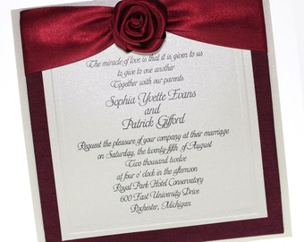 Pure Romance - Wedding Invitations, Wedding Card , Burgundy - Ivory - Formal Wedding  - Wedding, Paper Goods, Invitation  Set of 50