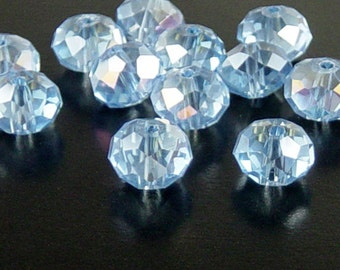Glass Bead 12 Blue Rondelle Faceted AB 10mm x 7mm (1014gla10b1)