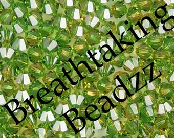 CLEARANCE Swarovski Crystal Beads 50 4mm Fern Green-Topaz Bicone 5328 Many Colors In Stock,os