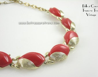 Vintage Necklace 1950s Lipstick Red Thermoplastic Choker