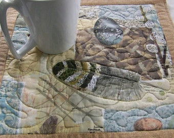 Table Mat ug Rug Trivet or  Mini Quilt Birds and Nature