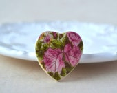 Heart brooch pink - flower pin - rose brooch