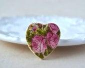 Heart brooch pink - flower pin - rose brooch