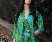 RESERVED 1950s/60s Hawaiian Print Blouse / Green floral blouse by Aladdin