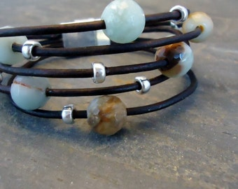 Leather Bracelet / Sterling Silver/Amazonite /Aqua Blue/ Spring / Summer  Colors