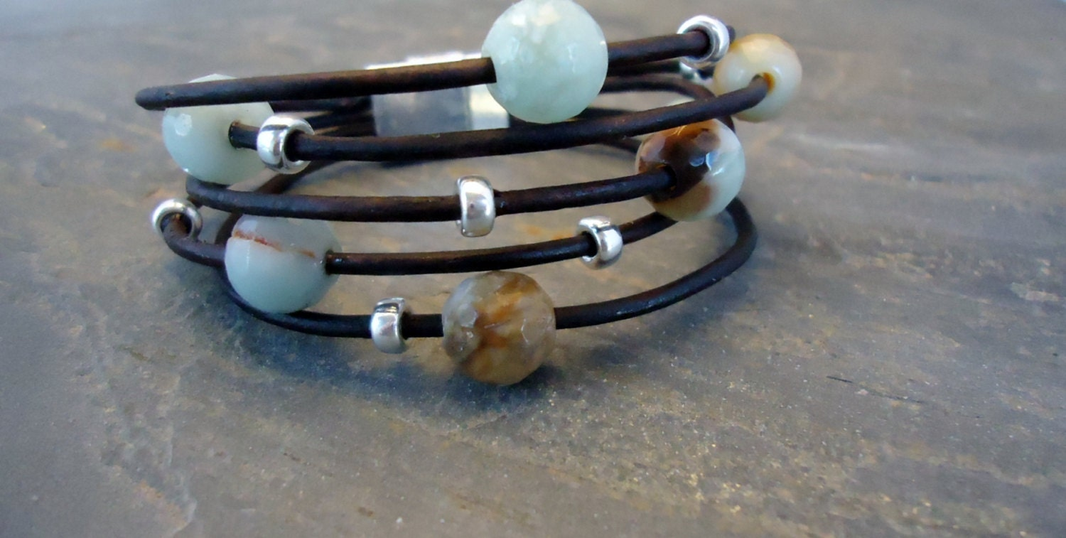 Faceted,Amazonite,and,sterling,silver,leather,bracelet,Jewelry,Bracelet,leather_bracelet,leather_cuff,sterling_bracelet,iseadesigns,sterling_silver,amazonite_jewelry,silver_bracelet,silver_cuff,cuff,modern,fall_jewelry,faceted amazonite,sterling silver,metal