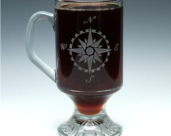 Engraved Compass Irish Coffee Mug