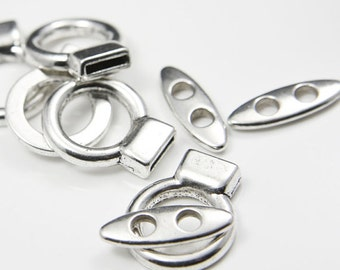 4 Sets Oxidized Silver Tone Base Metal Toggle Clasps (15340Y-K-172A)