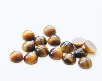 12 Pieces Natural Tigereye Stone Cabochons-8mm (08TE) (B-5-3)