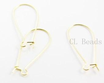 20pcs (10 Pairs) Gold Tone Earring Hooks-kidney 38x15mm (328C-I-182)