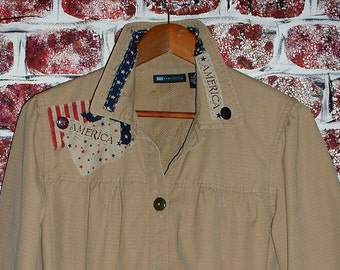 """Upcycled Women's Jacket, Size Large, Americana, Upcycled by """"Pretty in Plus"""""""