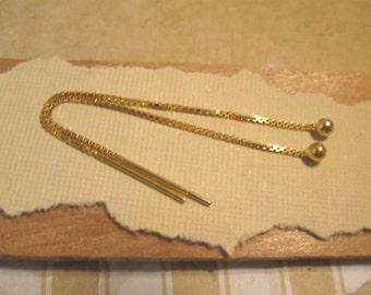 3 Inch Gold Vermeil Ear Threads - 1 Pair