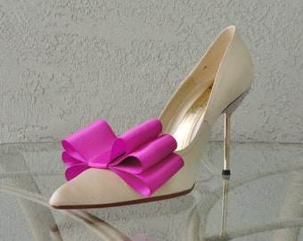 Magenta Satin Ribbon Bow Shoe Clips Set Of Two, More Colors Available
