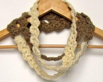 Cream & Tan Skinny Infinity Scarf, Womens Crochet Necklace, Ladies Eternity Cowl, Loop Scarf, Spring Fashion Accessories
