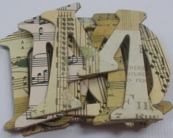 "VINTAGE MUSIC NOTES - Designer Chipboard Letters & Alphabet Die Cuts ....... 1.5"" Tall"