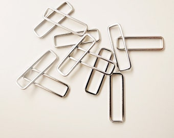 15 pieces of  PLATED thin raw brass tube outline charm in rectangular geometric shape 20 x 6 mm in steel color