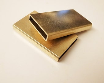 2 pieces of new cut  thick raw brass tube charm in rectangular shape 26X4X45 mm
