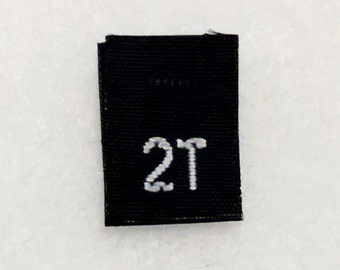 Size 2T (Two Toddler) Black  Woven Clothing Size Tag (Package of 50)