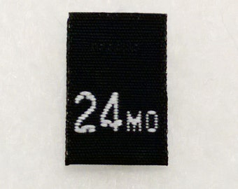 Size 24 Months (Twenty-four) Black  Woven Clothing Size Tag (Package of 100)