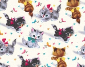 FAT QUARTER- Kitties Vintage Style Print Fabric Michael Miller CX3696-CREM-D