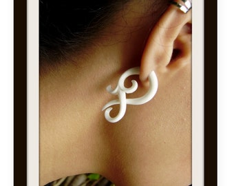 Fake gauge earrings ,X- Small twist , Bone Split Gauge Earrings, hand carved,tribal style,organic