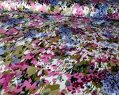 """Purple & Lilac Flowers on Stretch Cotton Sateen. 64"""" wide. 1 yard,"""