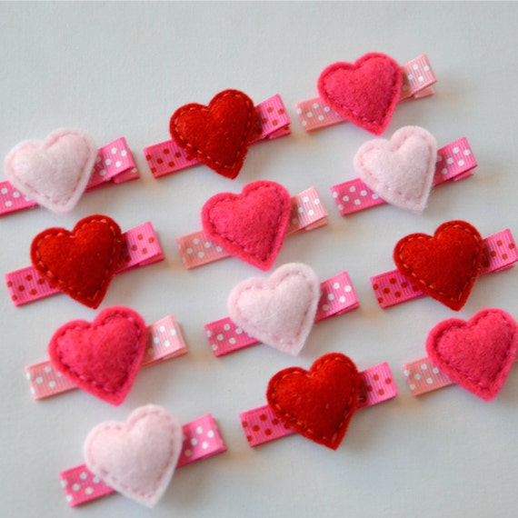 Valentines Day Small Puffy Hearts Felt Hair Clip - Light Pink Available - Hot Pink and Red SOLD OUT