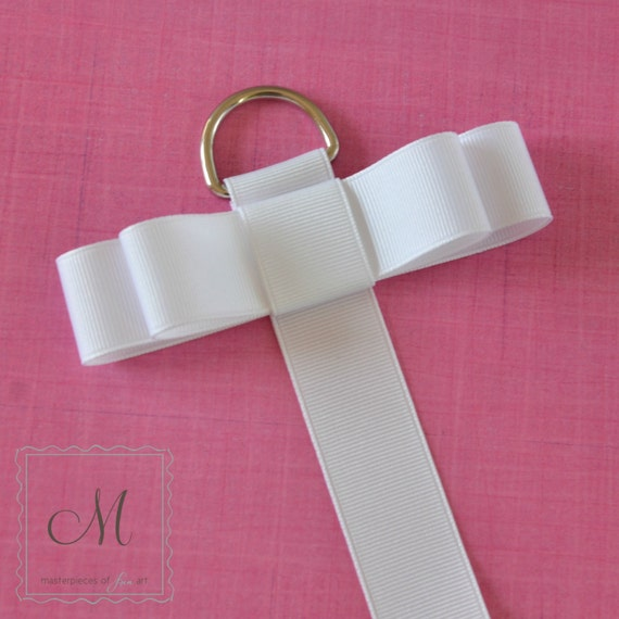White Grosgrain Ribbon Hair Clip Organizer - Hair Bow Holder - Girls Clip and Barrette Hanger - Hanging Bow Organizer - Room Decor