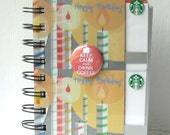 STARBUCKS LARGER Upcycled Gift Card Spiral Notebook or Notepad with Flair Button Embellishment