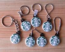 """STARBUCKS Keychains and Zipper Pulls - 1"""" Flair Buttons or Badges in 7 Styles"""