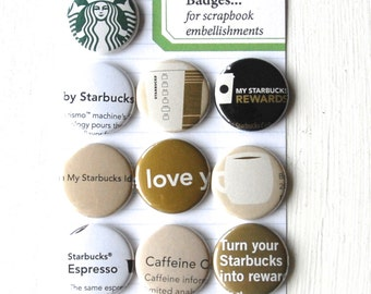 STARBUCKS Flat Back Coffee Flair Badges or Buttons Vol. 2 for scrapbooking