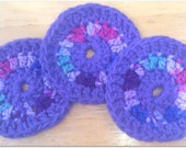 Handmade Crocheted Round Purple and Multi -Colored Coasters, Face Scrubbies