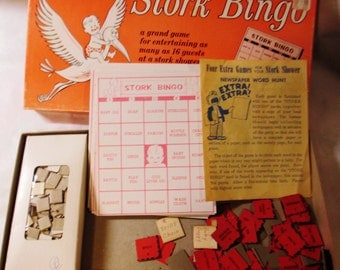 1957 Stork Bingo - Baby Shower Game for 16 Players